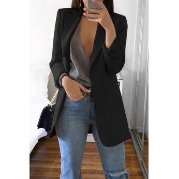 Lovely Casual Long Sleeves Black Suit Jacket