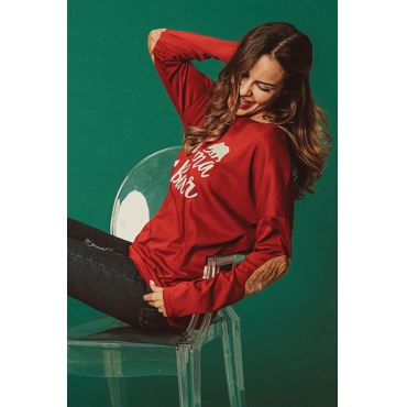 Lovely Casual Letters Printed Red Modal T-shirt