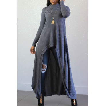 Lovely Casual Long Sleeves Irregular Grey Blending Long Sweaters