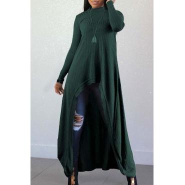 Mangas Compridas Casuais Lindas Irregulares Verdes Misturando Blusas Longas