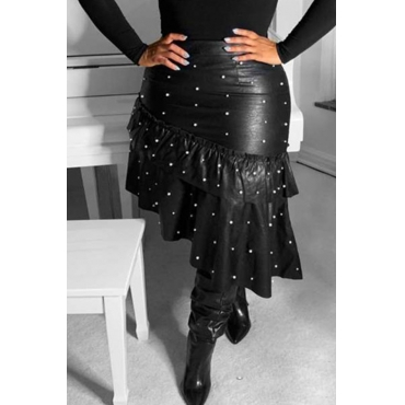 Lovely Sweet Pearl Decorative Black PU Skirts