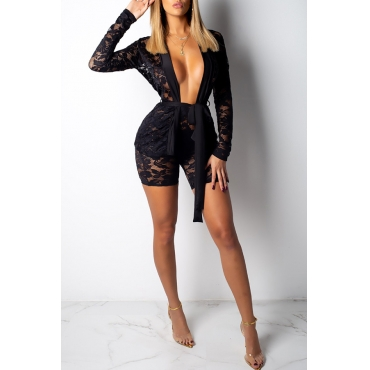 Lovely Fashion Black Lace Two-piece Shorts Set