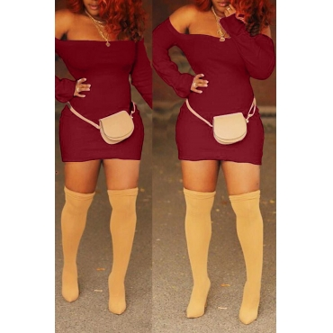Lovely Casual Long Sleeves Wine Red Blending Mini Sheath Dress