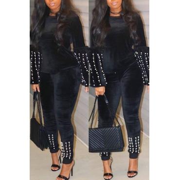 Precioso Perla Dulce Decorativa Negra De Dos Piezas Conjunto De Pantalones