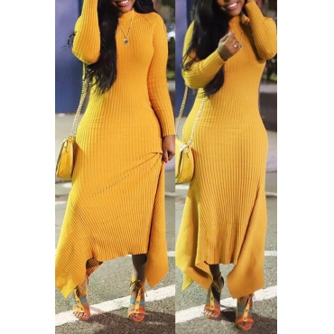Lovely Casual Long Sleeves Yellow Ankle Length Fishtail Dress