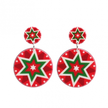 Lovely Fashion Christmas Snowflakes Red Earring