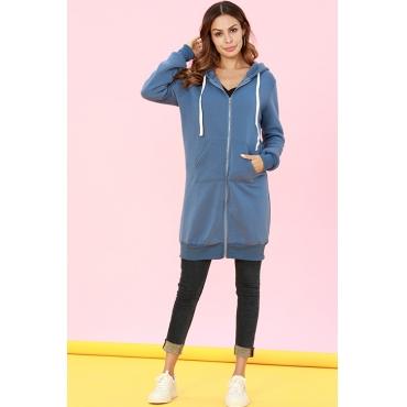 Lovely Casual Long Sleeves Blue Long Coat
