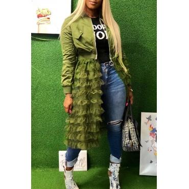Lovely Fashion Zipper Army Green Long Coat