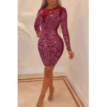 Lovely Temperament Hot Drilling Decorative Red Knitting  Mini  Dress