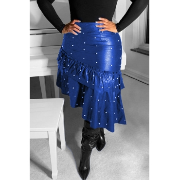 Lovely Sweet Flounce Design Blue PU Skirts