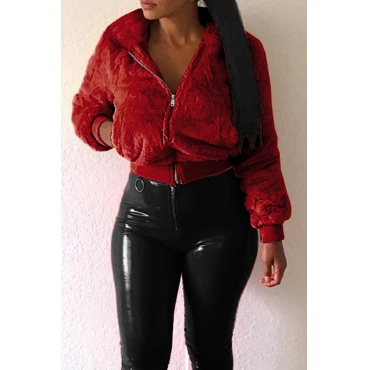 Lovely Sweet  Zipper Design  Wine Red Jacket