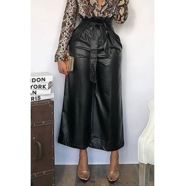 Lovely  Casual Loose Black PU Pants