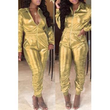 Lovely Trendy  Zipper Design Gold  One-piece Jumpsuit