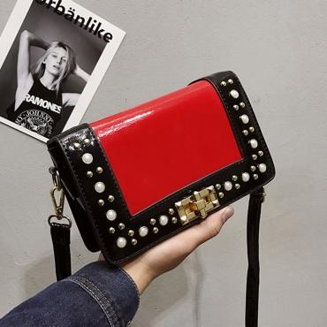 Lovely Trendy Patchwork Red PU Messenger Bag