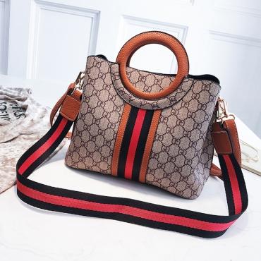Lovely Elegant Patchwork Brown PU Messenger Bag