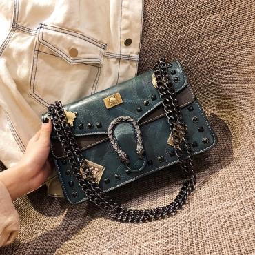 Lovely Trendy Rivet Decorative Green  PU Messenger Bag