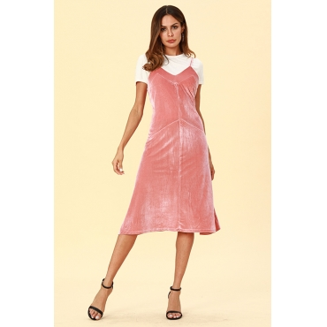 Lovely Casual Sleeveless Pink Pleuche Mid Calf  Dress