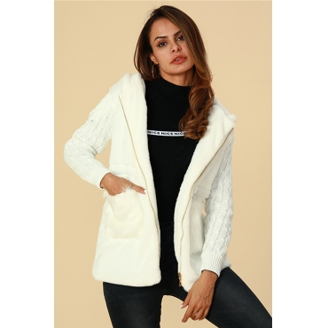 Lovely Trendy Patchwork White Cotton Coat