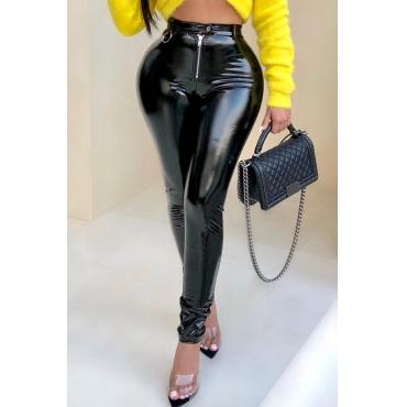 Lovely Fashion Zipper Black PU  Pants