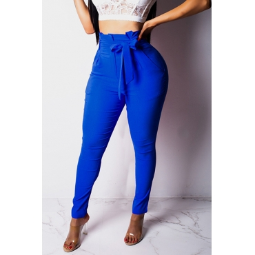 Lovely Chic Lace-up Blue Pants