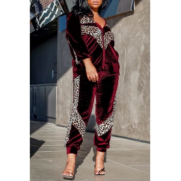Lovely Trendy Leopard  Red Two-piece Pants Set