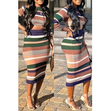 Lovely Casual Striped Multicolor Sweater Two-piece Skirt Set(Pre-sale,Shipment Within 7 Days)