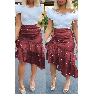 Lovely Sweet Flounce Design Purplish Red  PU Skirts