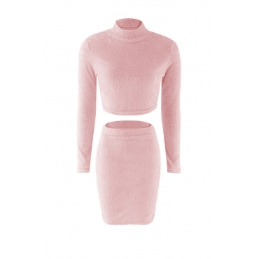 Lovely Casual Slim Pink Knitting Two-piece Skirt Set