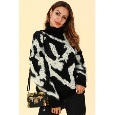 Lovely Chic Color-lump Black And White Sweaters