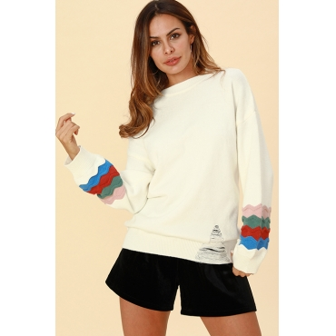 Lovely Chic Patchwork Loose White Cotton Sweaters