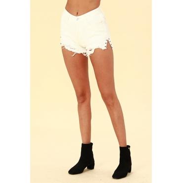 Lovely Trendy Broken Holes Torn Edges White Denim Shorts
