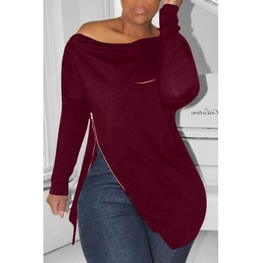 Lovely Casual Irregular Zipper Wine Red Hoodie