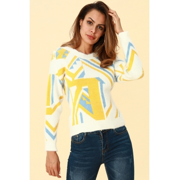 Lovely Trendy Color-lump Yellow Sweaters