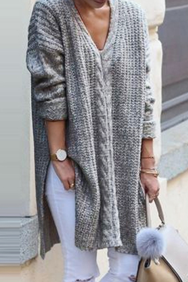 Lovely Casual Long Sleeves Grey Knitting Sweaters