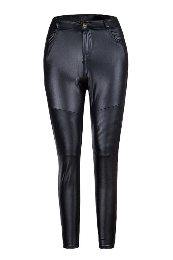 Pantalones De PU Negros Flacos Ocasionales Encantadores