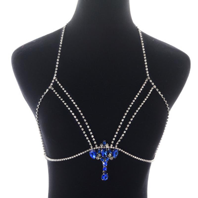 Precioso Sexy Rhinestone Decorativo Collar De Cristal De Plata