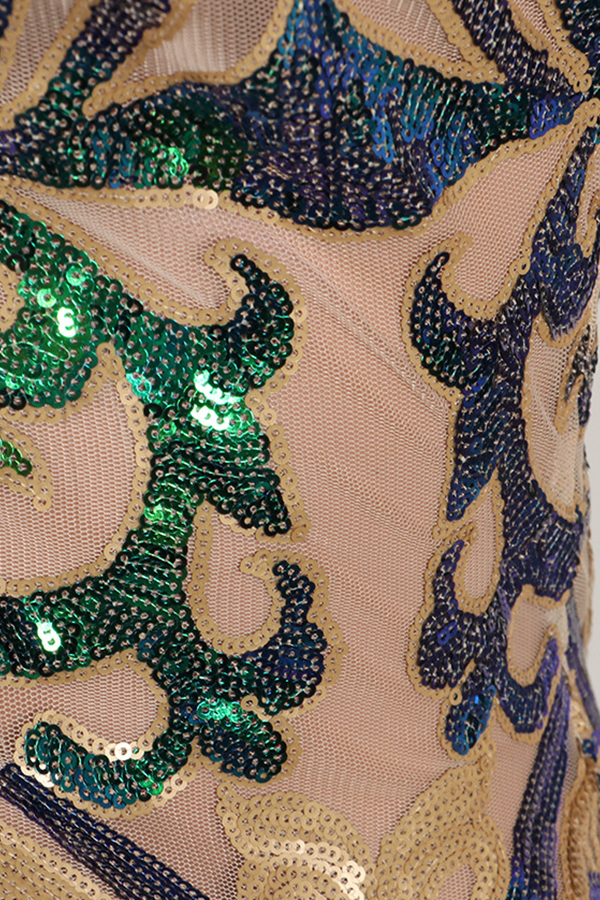 Lovely Party Sequined Decorative Apricot Blending Mini Dress