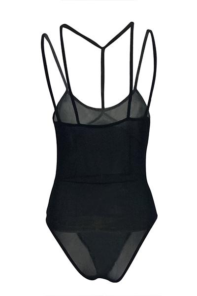 Bodysuit De Gaze Preto Transparente Lindo Adorável
