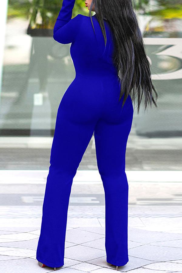 Lovely Trendy Asymmetrical Blue Knitting One-piece  Jumpsuit