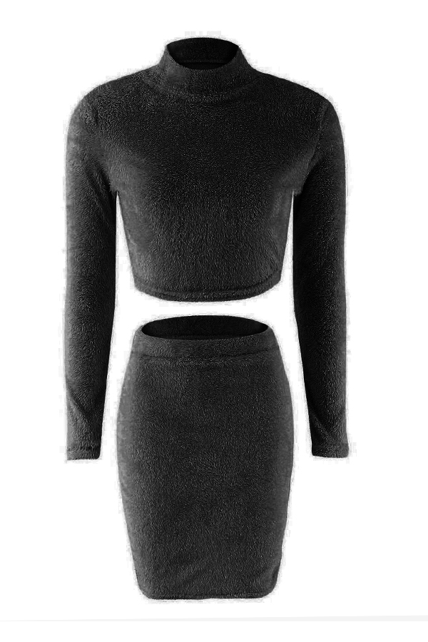 Lovely Casual Slim Black Two-piece Skirt  Set