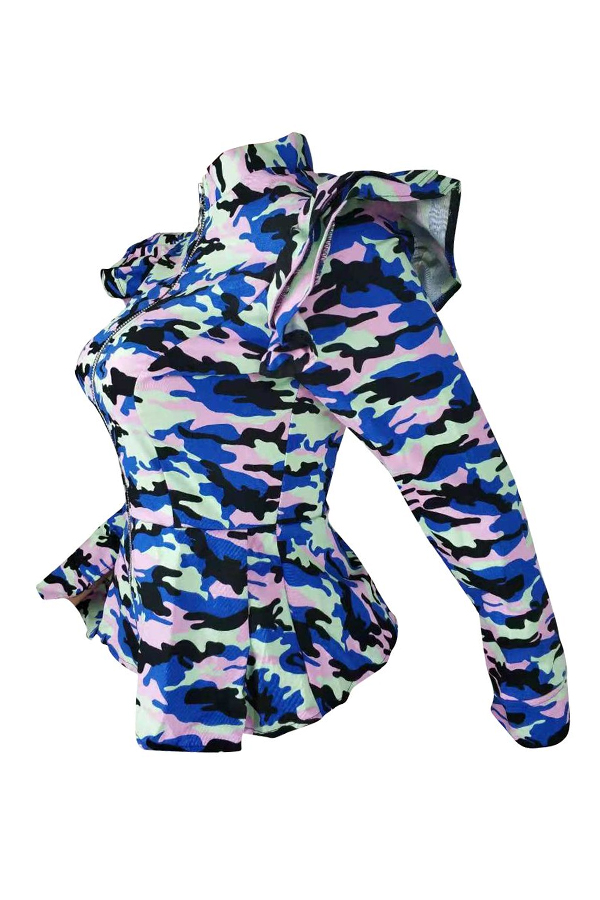 Lovely Casual  Camouflage Blue Jacket