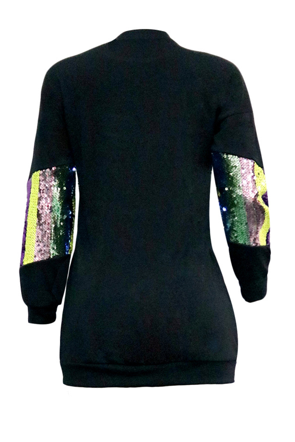 Lovely Trendy Patchwork Black Hoodies