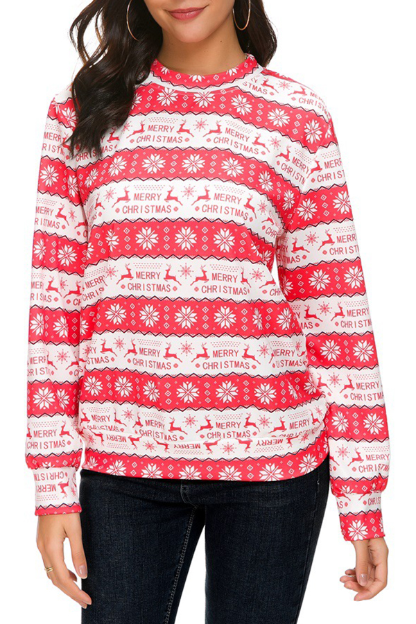 Lovely Casual Printed Red Hoodies