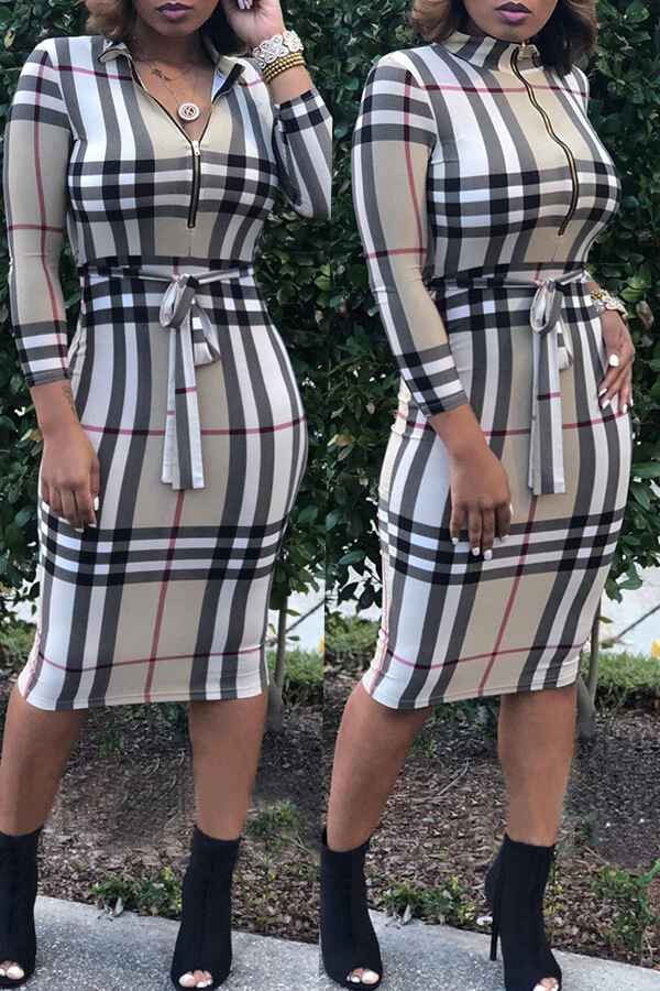 Lovely Casual Grids Printed  Multicolor Knee Length  Dress