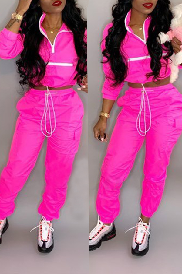 Lovely Trendy Patchwork Rose Red Two-piece Pants Set