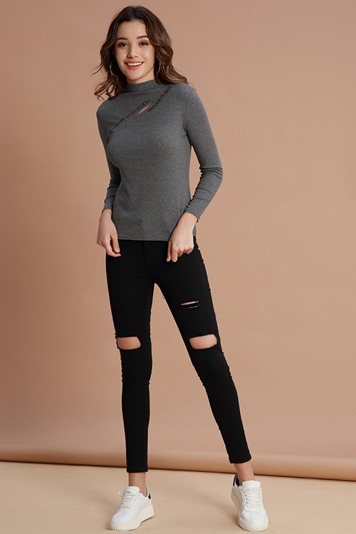 Lovely Casual  Hollowed-out Grey Cotton Base Layers