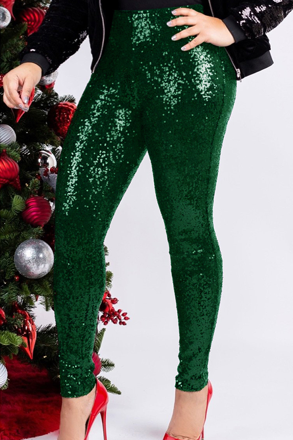 Lovely Trendy Sequined Skinny Green Cotton Pants