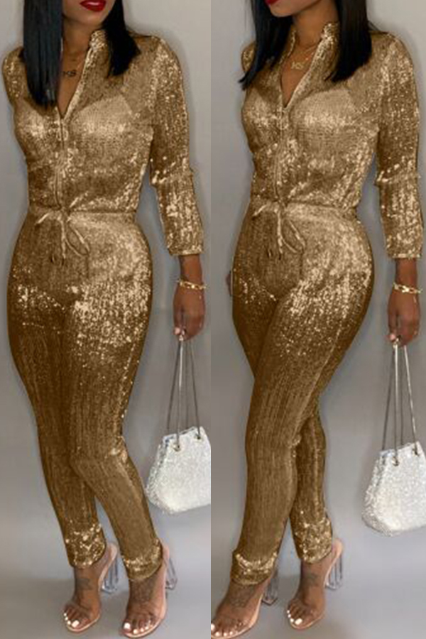 Lovely Sweet Zipper Design Gold One-piece Jumpsuit