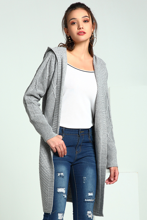 Lovely Casual Hooded Collar Light Grey Cardigan Sweaters