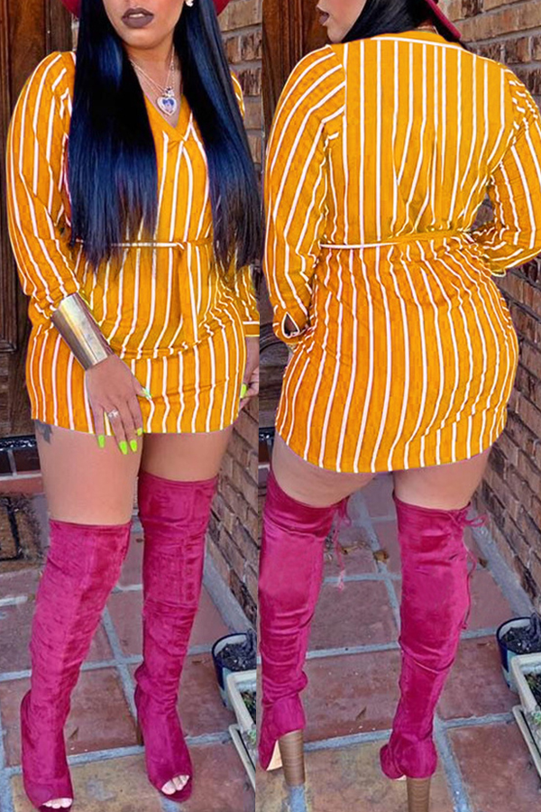 Lovely Casual Striped Yellow Cotton Mini Dress